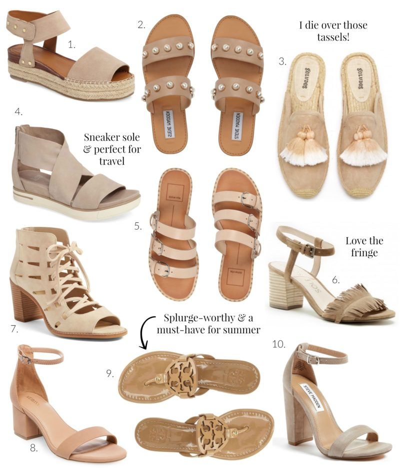 top 10 neutral shoes for summer, neutral sandals