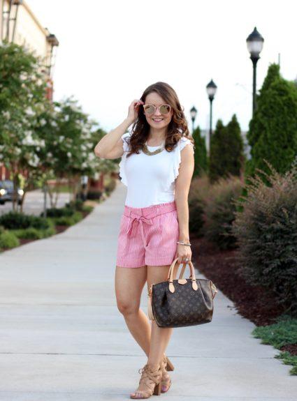 Pink Tie-Waist Shorts Under $20