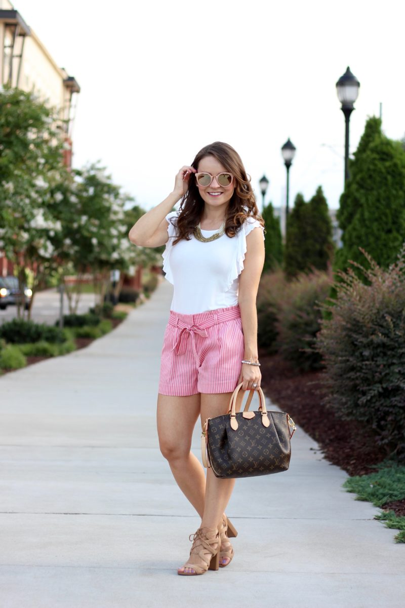 loft striped tie waist shorts, pink bow shorts