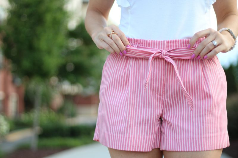 loft pink tie waist shorts, pink striped shorts