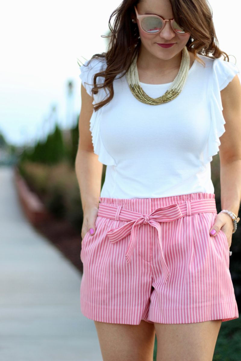 loft striped tie waist shorts, pink shorts