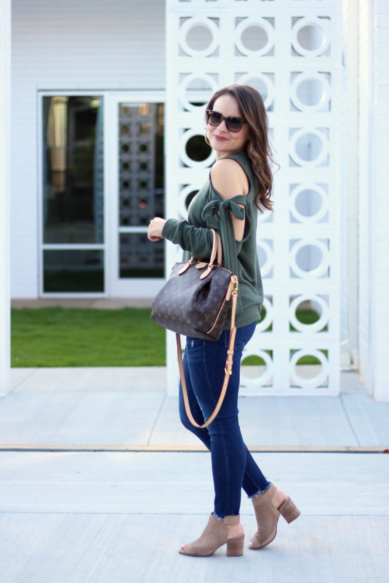 Pleione cold shoulder tie-sleeve sweatshirt, casual fall outfit, olive sweater, Louis Vuitton Turenne PM