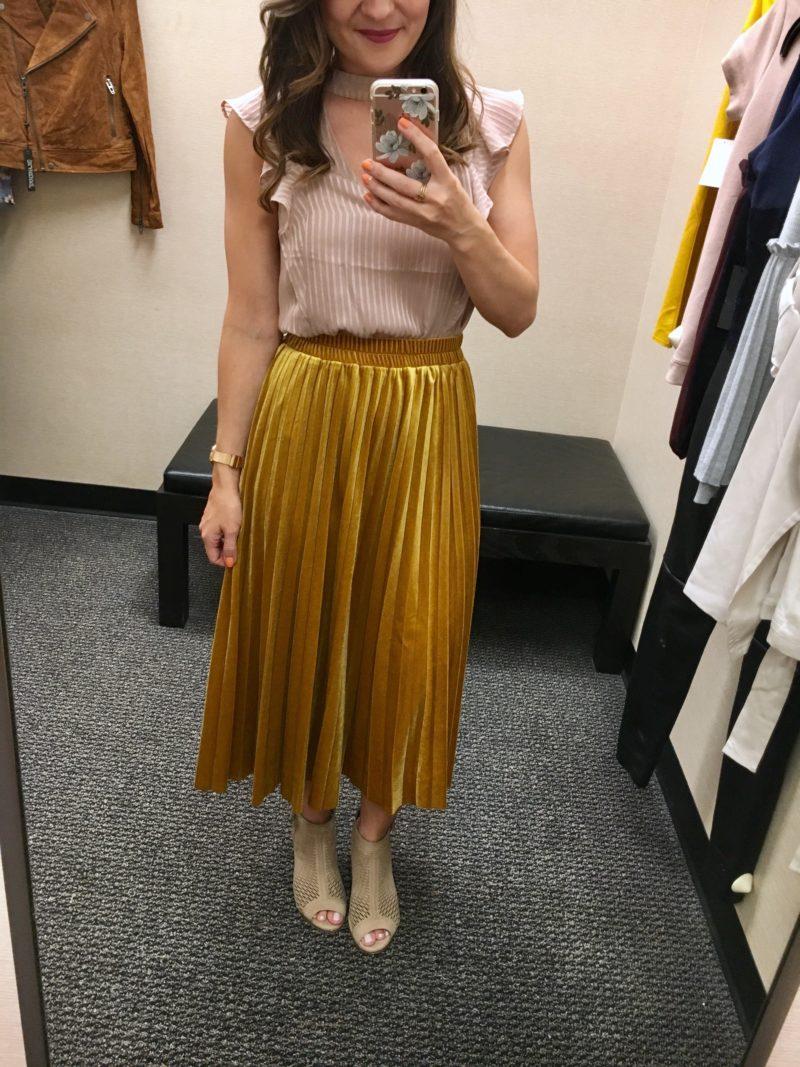 mustard velvet skirt