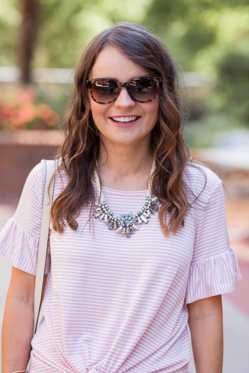 BaubleBar corde necklace, pink striped top