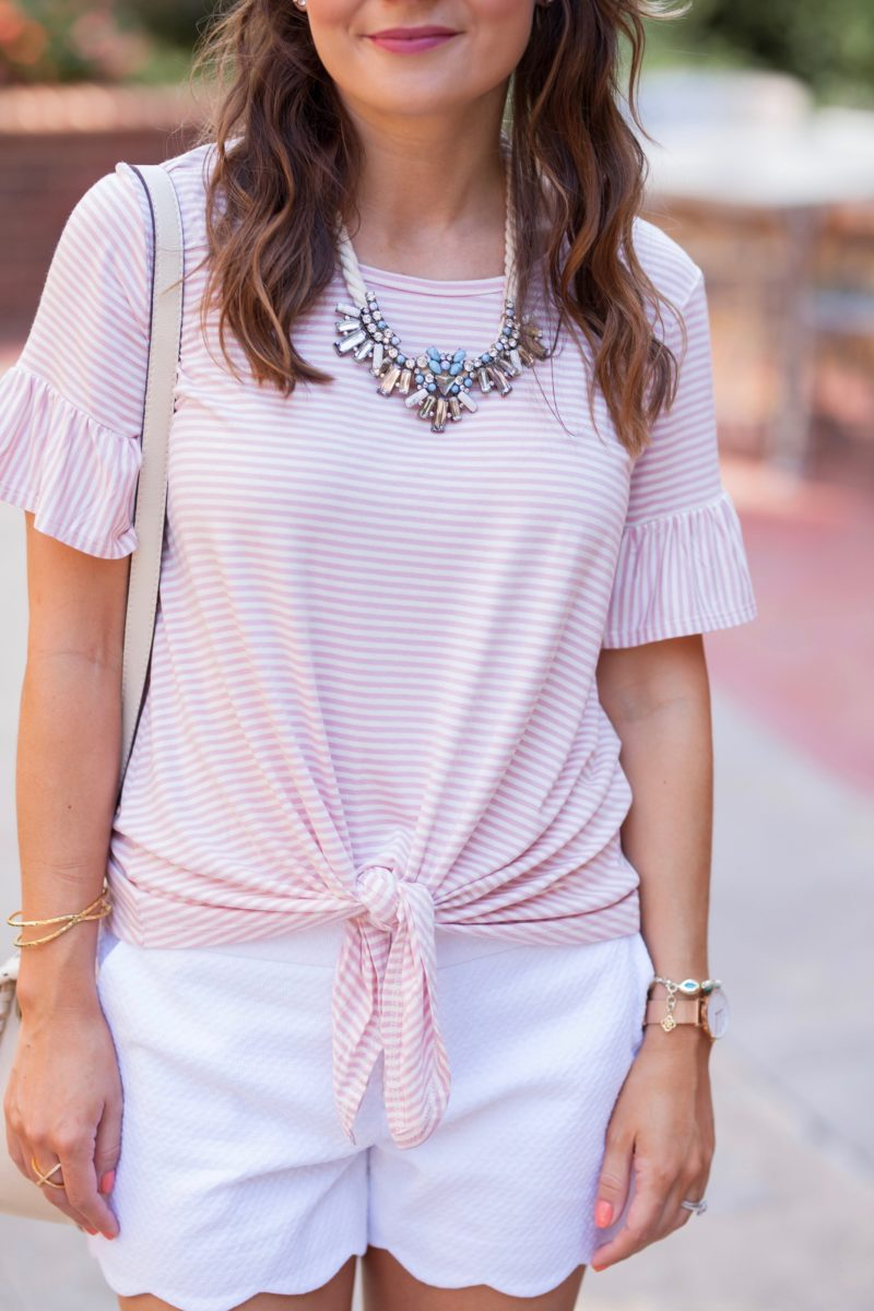 Bobeau Bell Sleeve Tie Front Top, white scalloped shorts