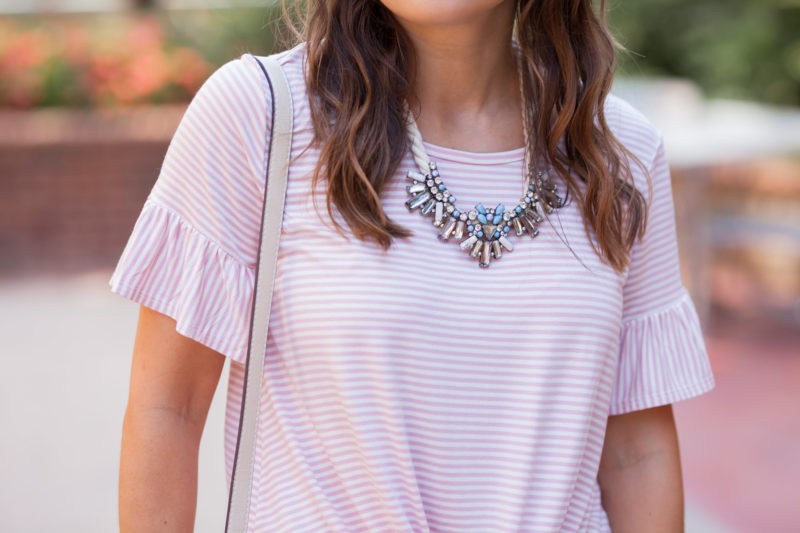 BaubleBar corde bib necklace, pink striped tee