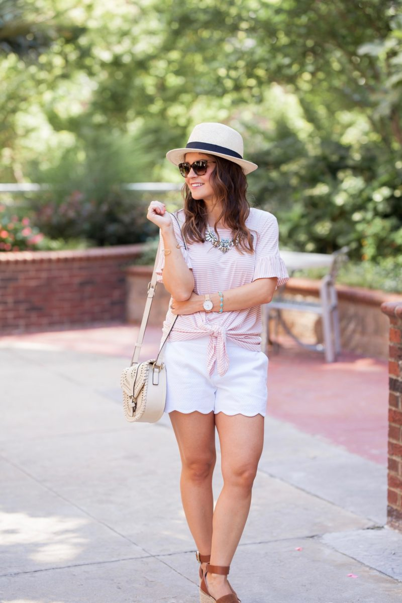 pink striped bobeau top, white scalloped shorts