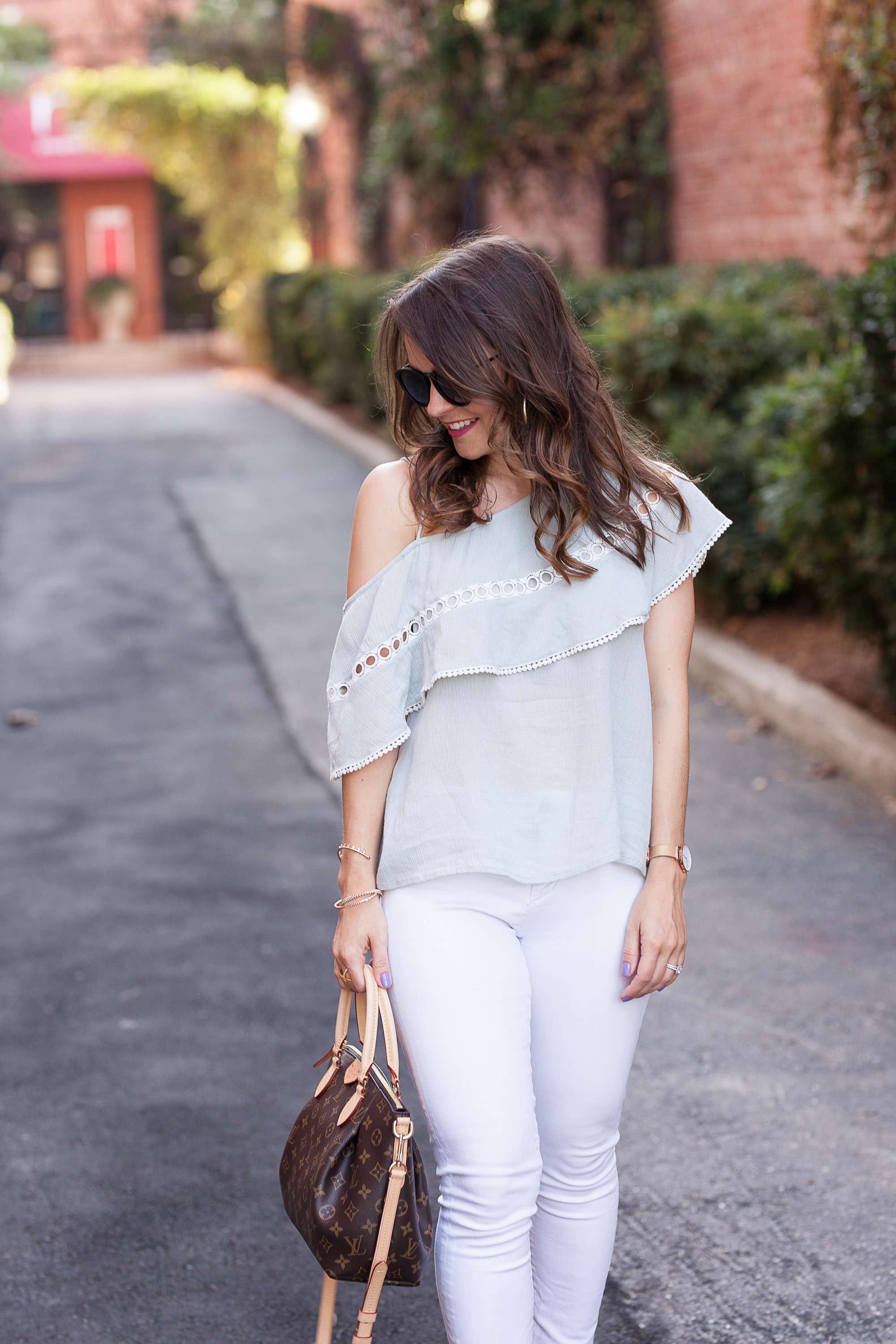 mint one shoulder top, affordable white jeans