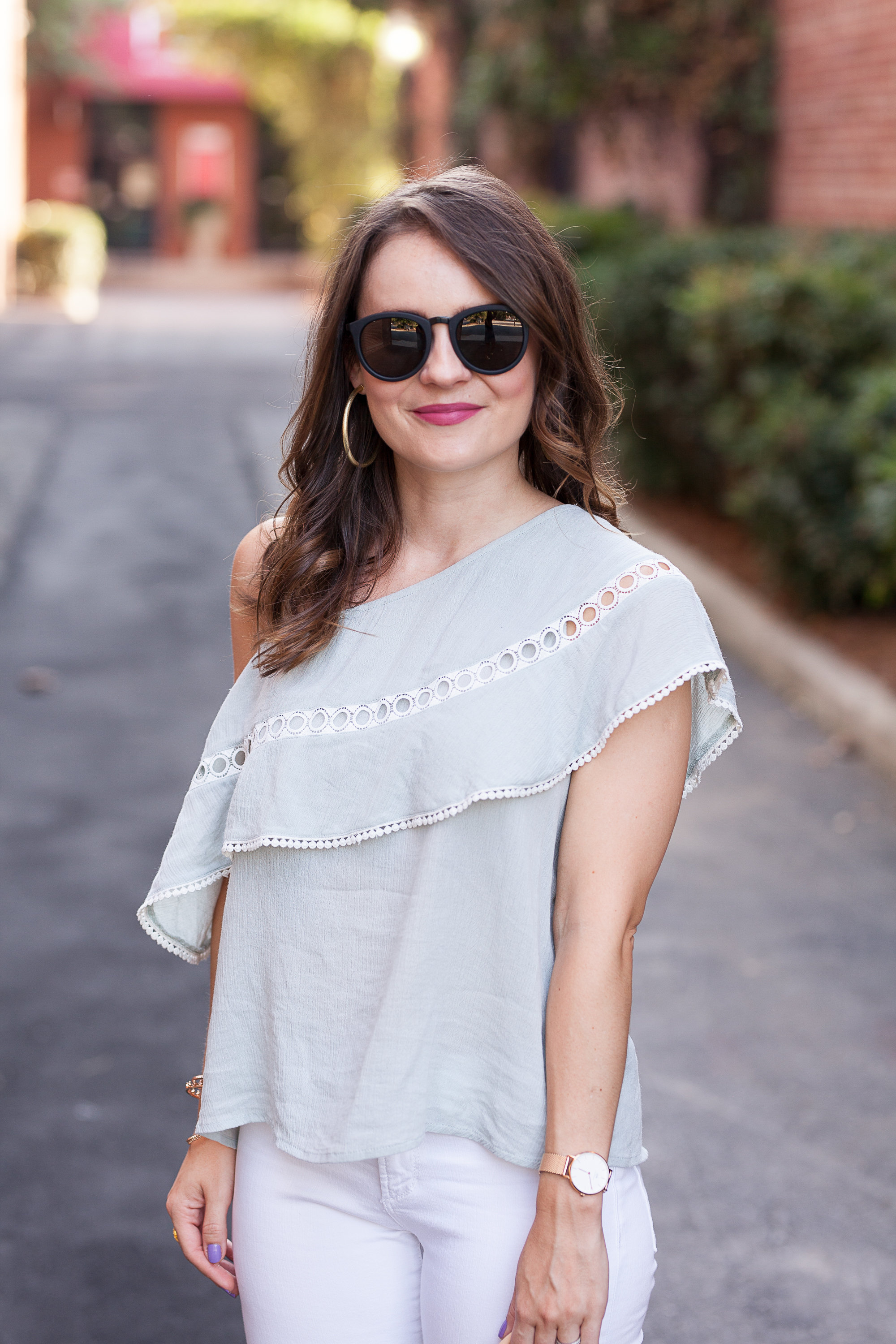 mint one shoulder top, LeSpecs sunglasses