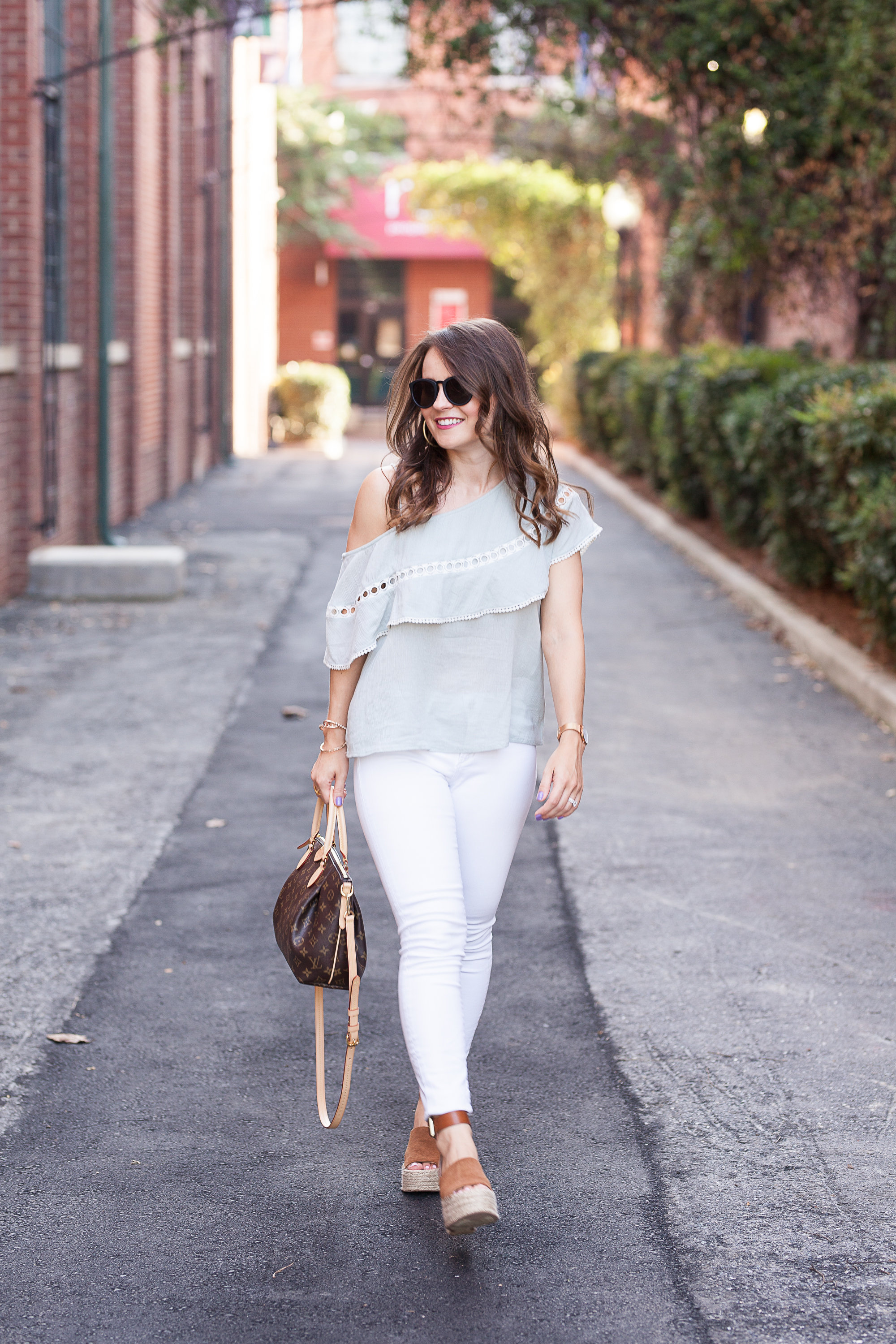 mint one shoulder top, LeSpecs sunglasses, transitional fall outfit