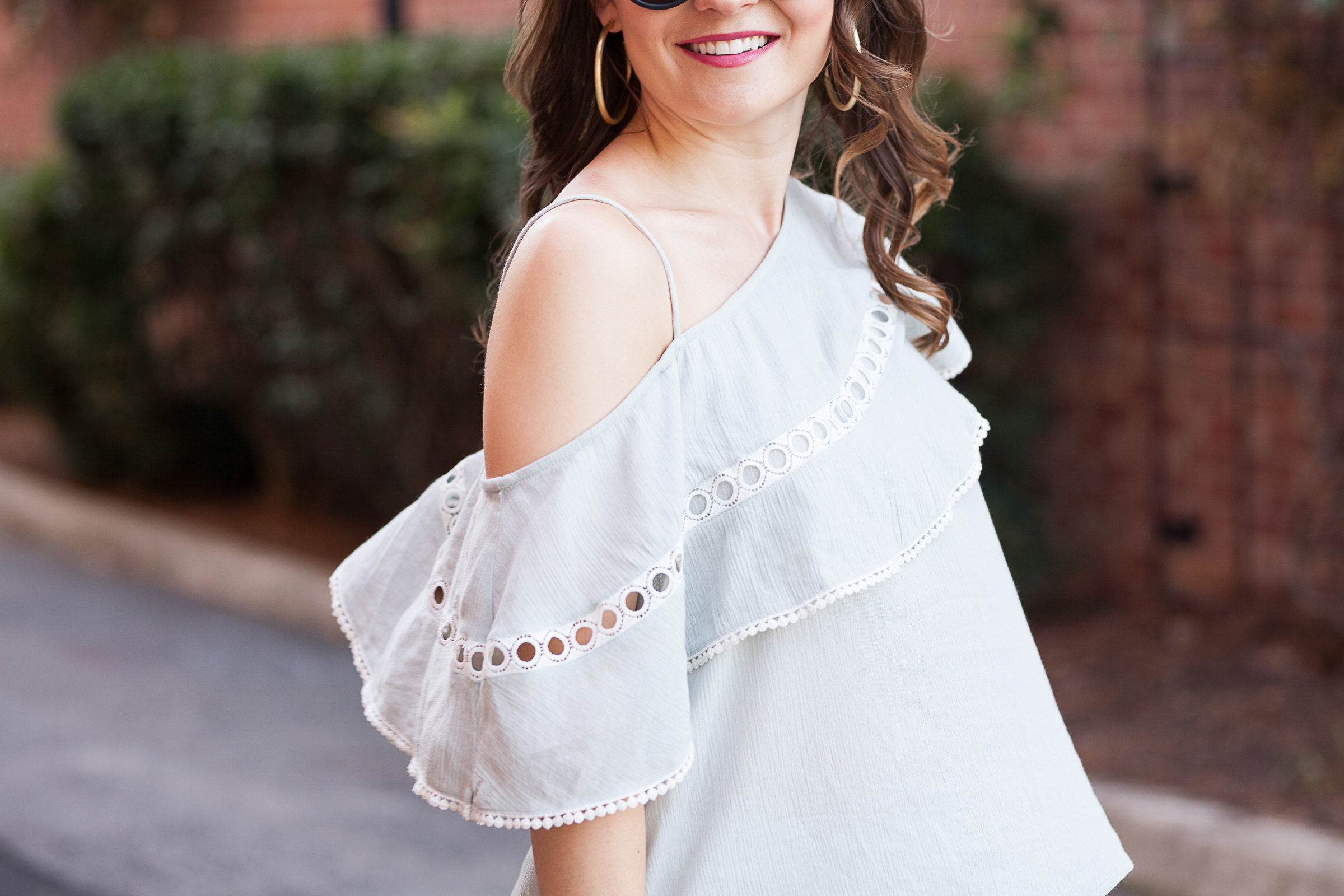 Sun & shadow one shoulder ruffle top