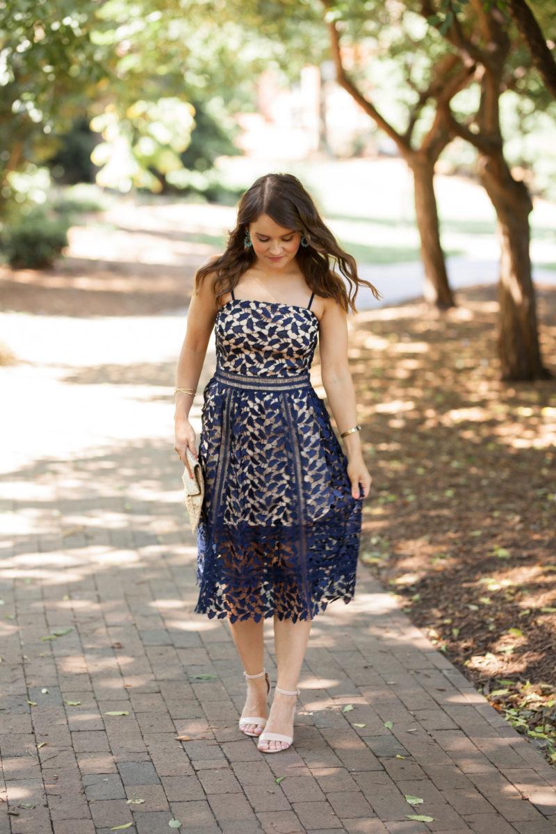 Boohoo navy lace midi dress, navy lace dress under $50