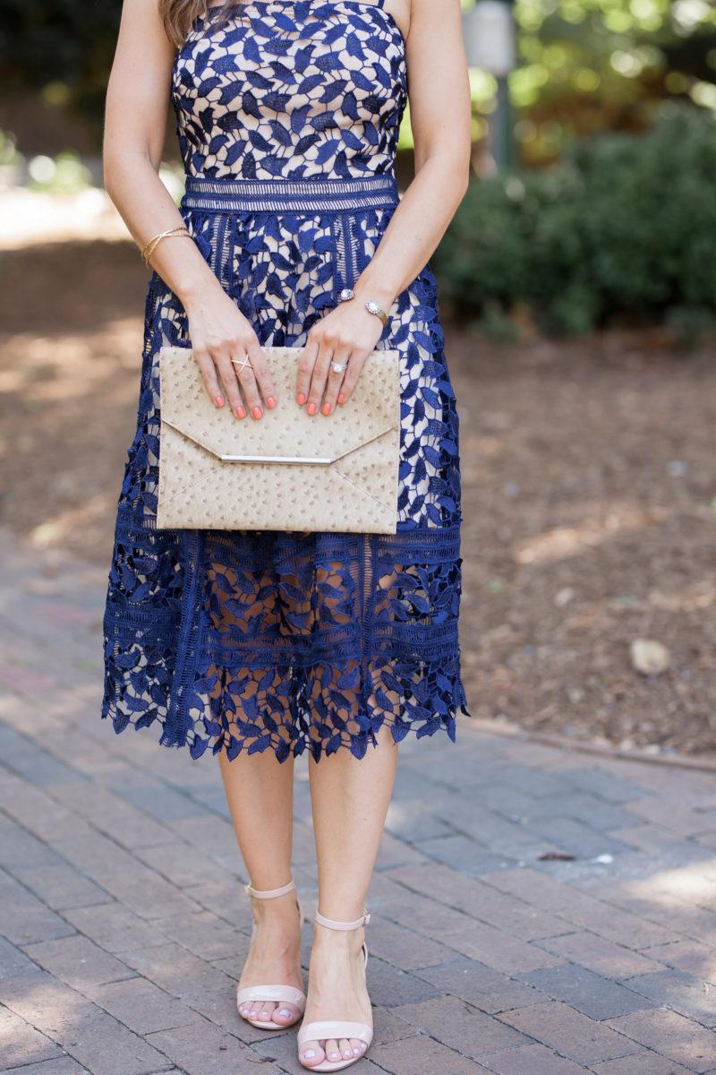 Boohoo navy lace midi dress