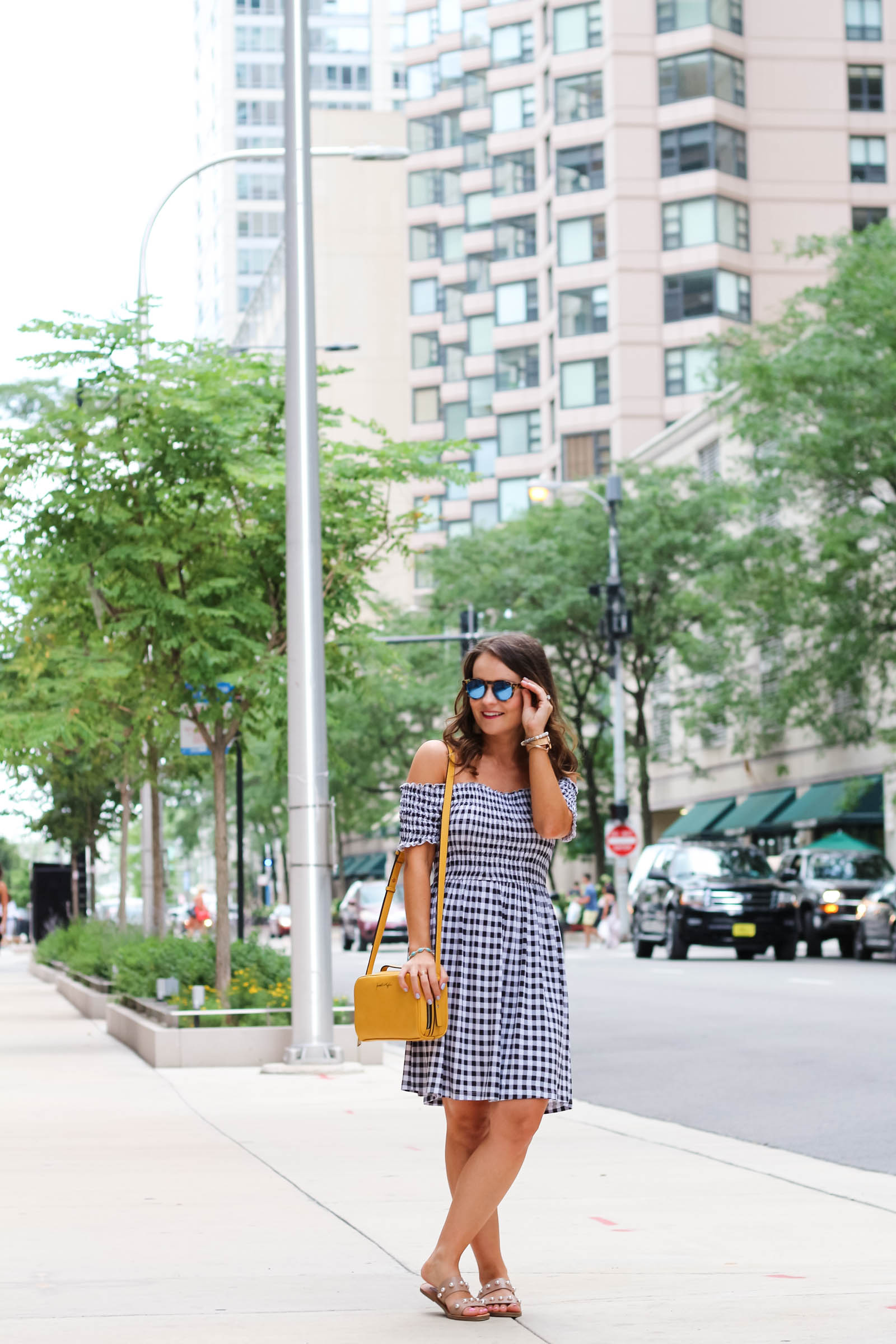 asos black and white gingham dress