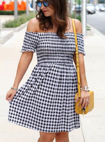 Black + White Gingham Dress