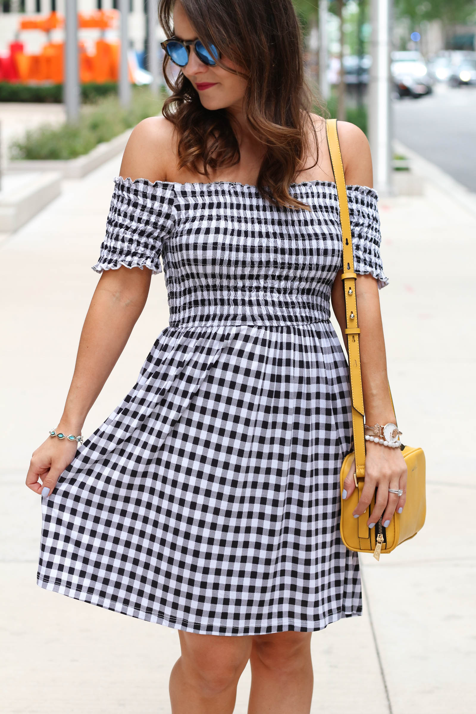 asos black and white gingham dress