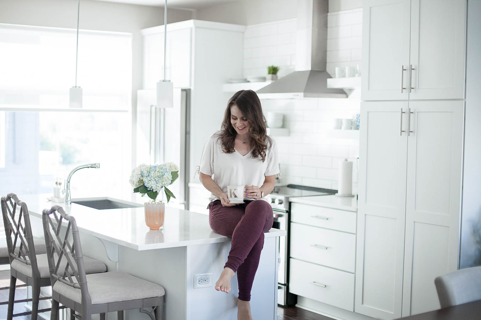 all white kitchen, home tour kitchen
