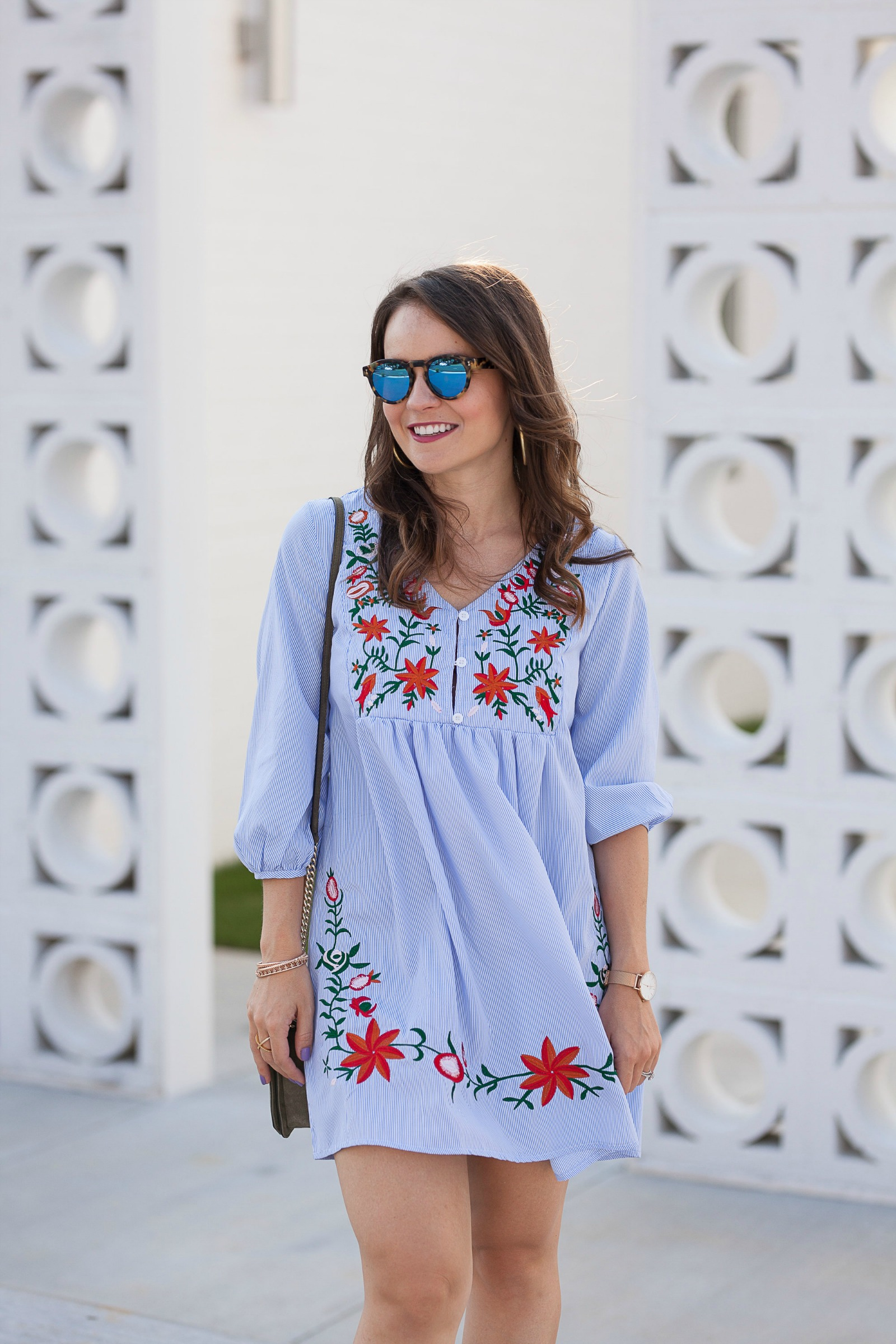 shein blue embroidered dress