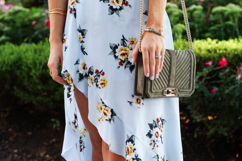 floral dress, rebecca minkoff small love bag