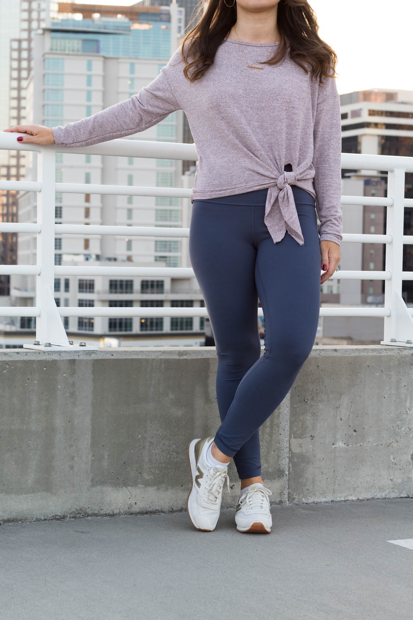 Rome Pink Drop Shoulder Criss Cross Tie Front T-Shirt, gold new balance sneakers, lululemon align pant