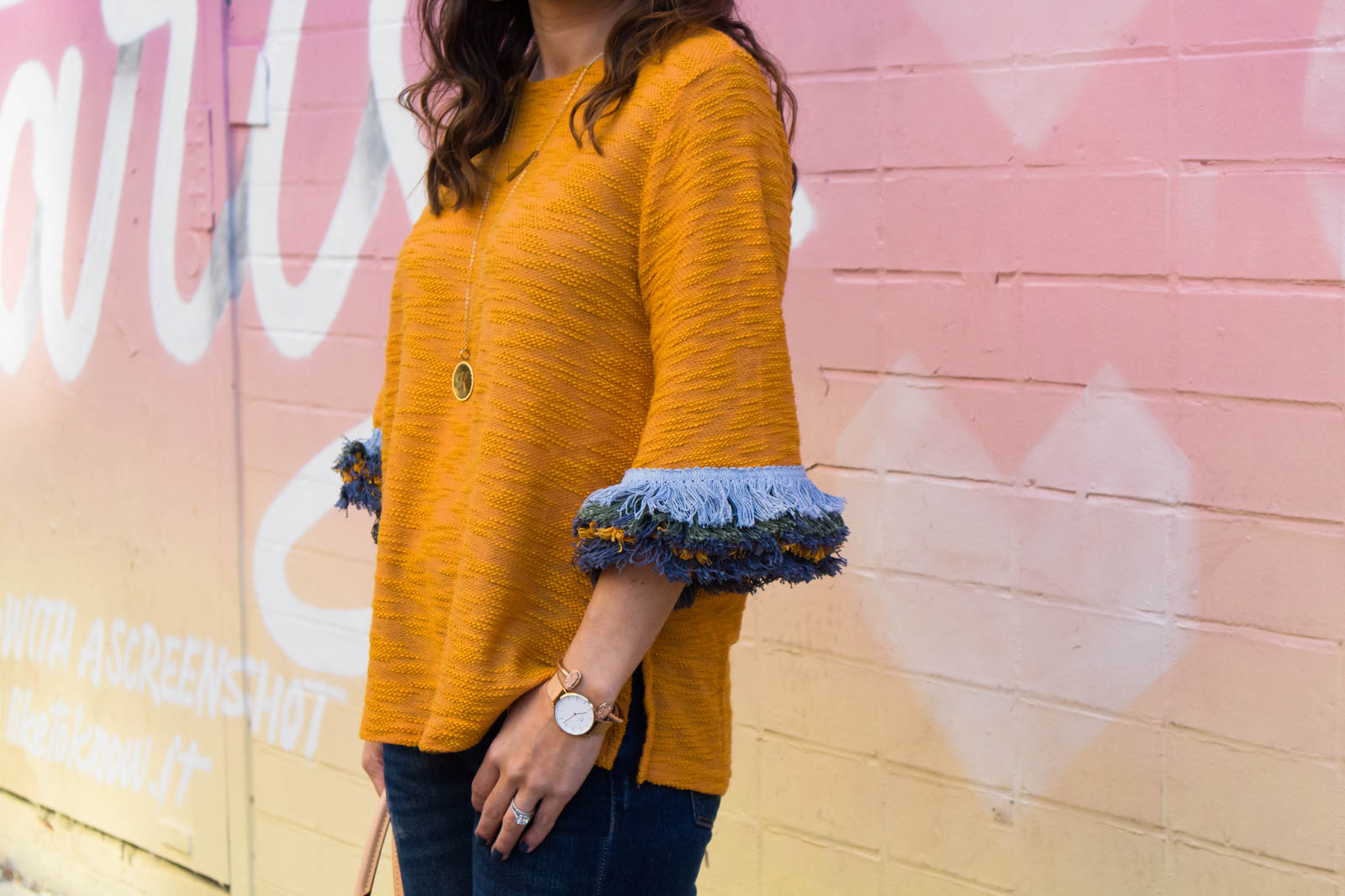 fringe sleeve sweater, mustard sweater