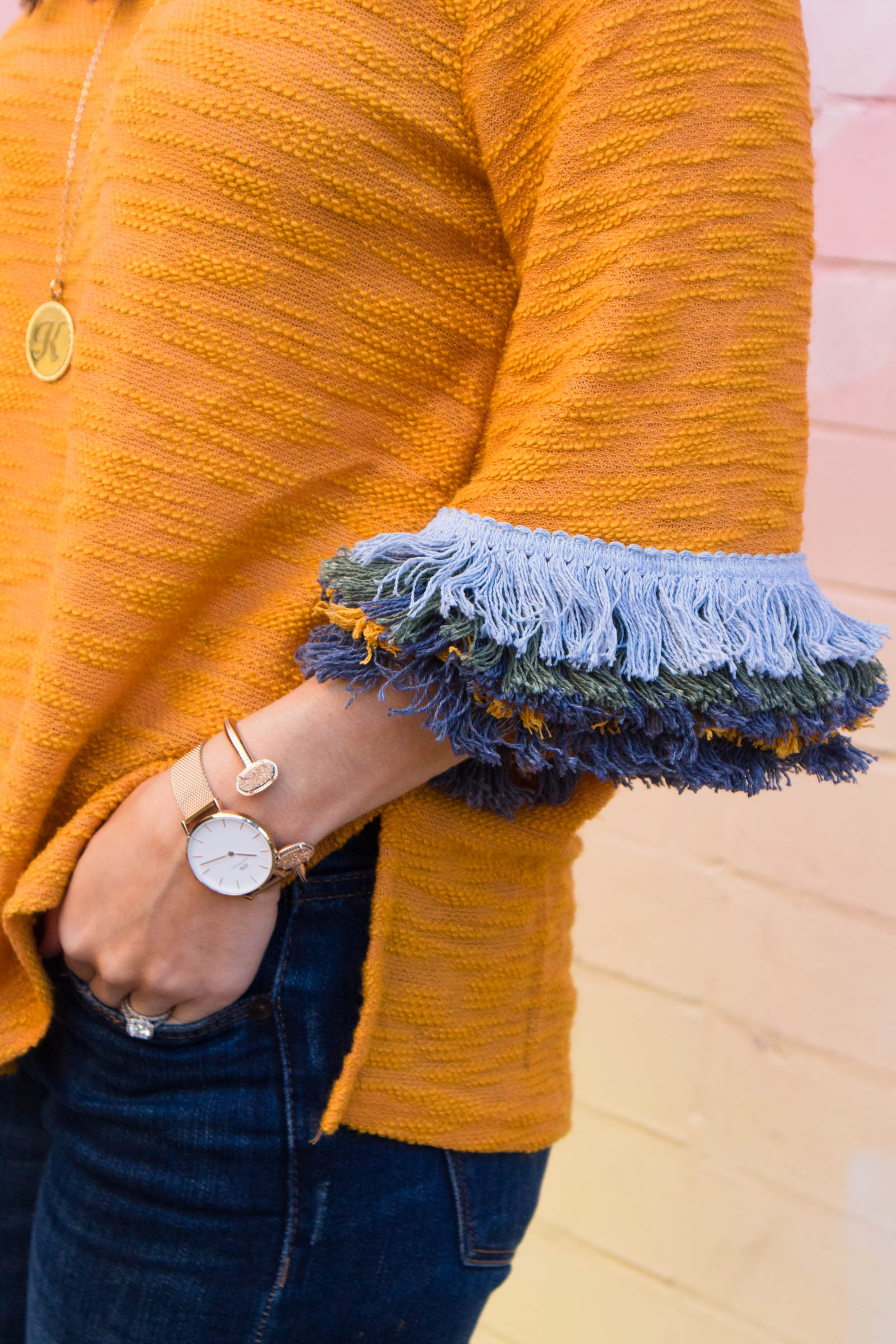 fringe sleeve sweater, daniel wellington petite melrose watch