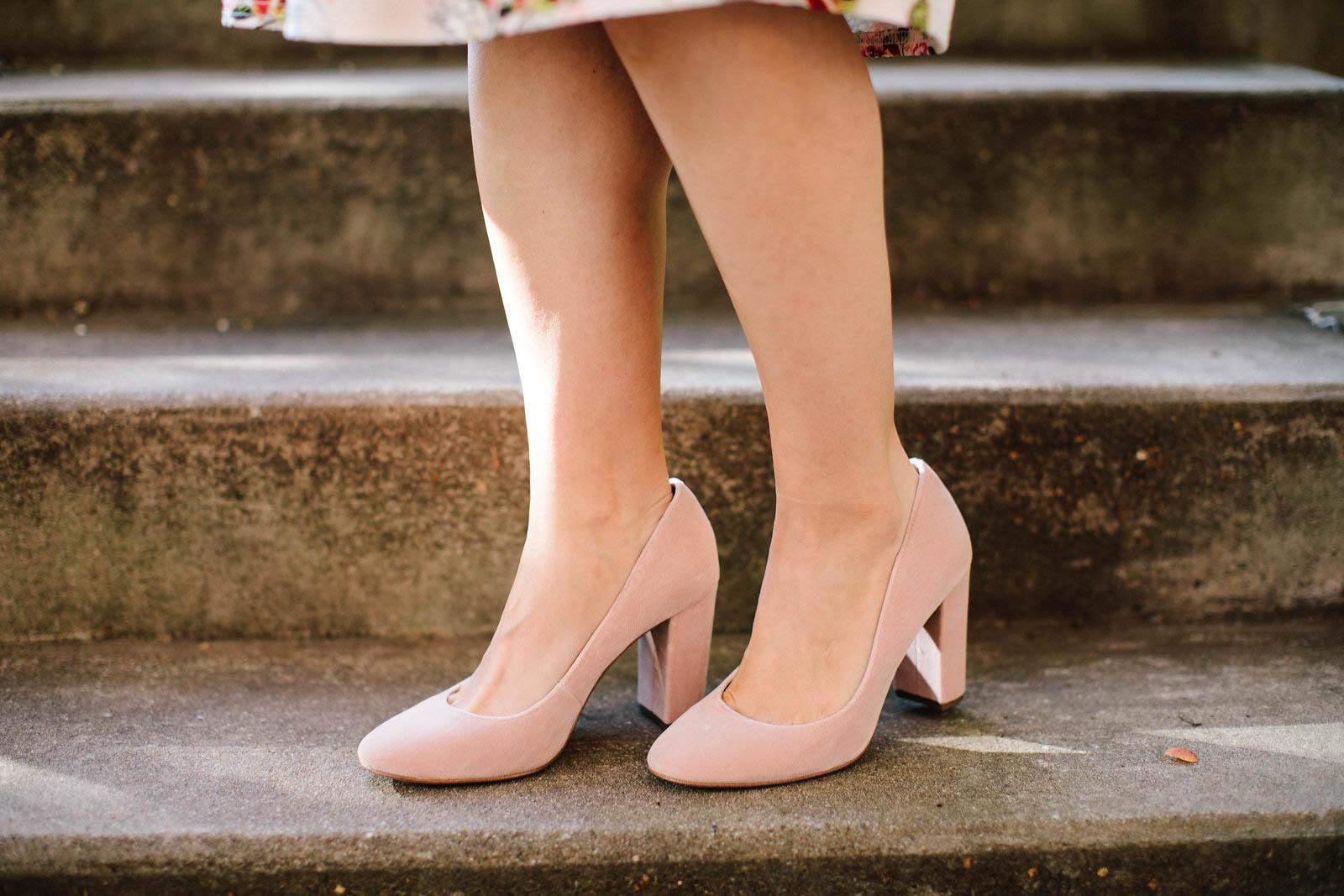 Louise et cie blush velvet heels