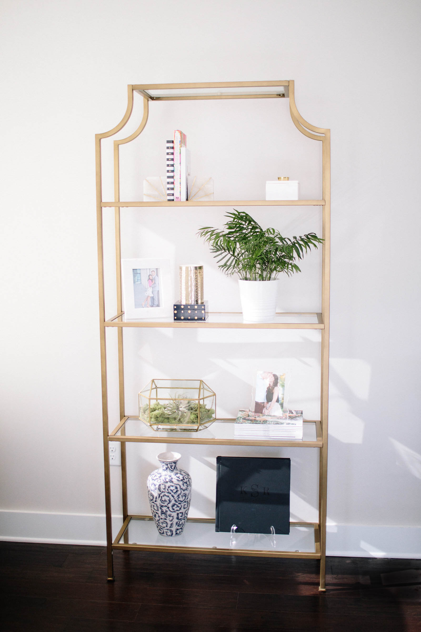 gold bookshelf, home decor, Wallace Etagere