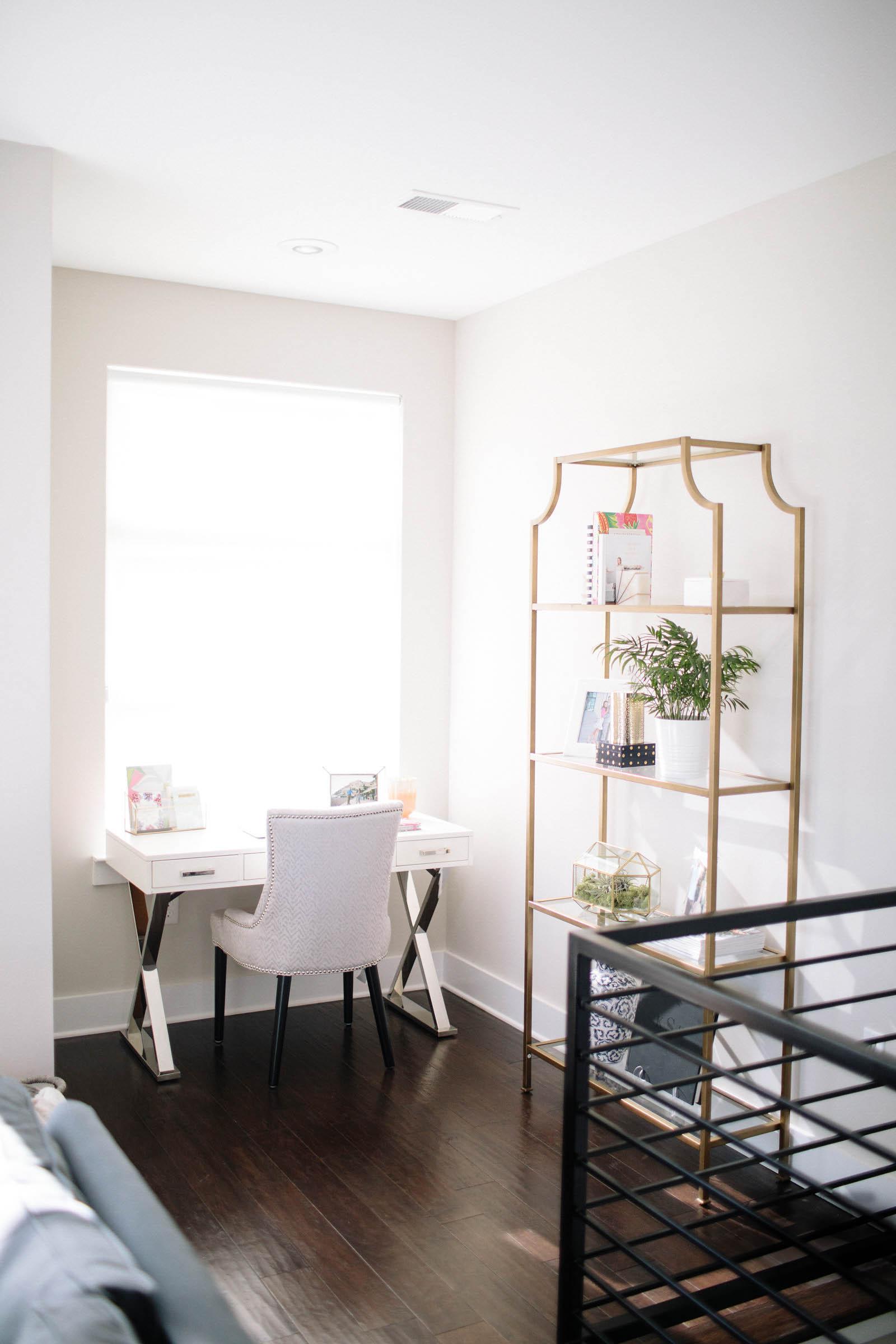gold bookshelf, office decor