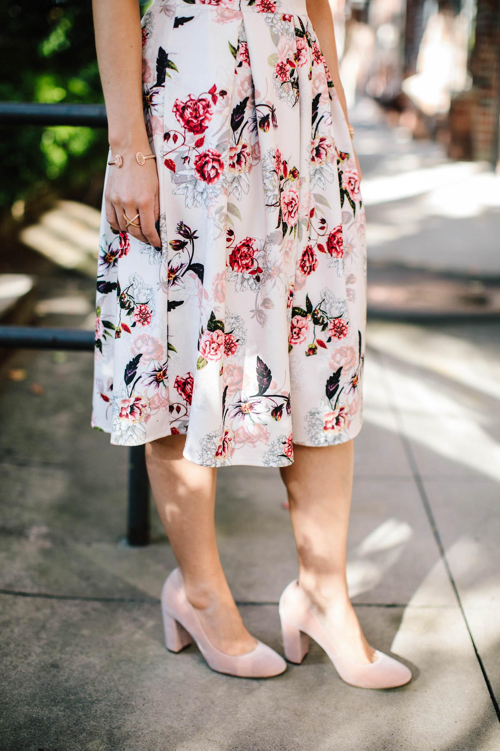blush velvet heels, pink floral skirt