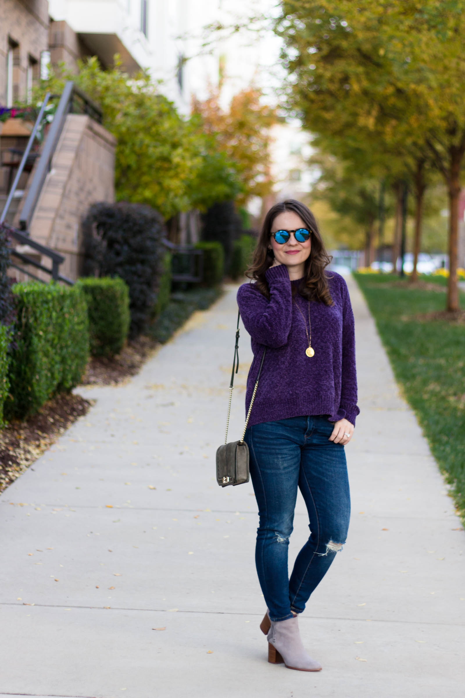 casual fall outfit, chenille sweater