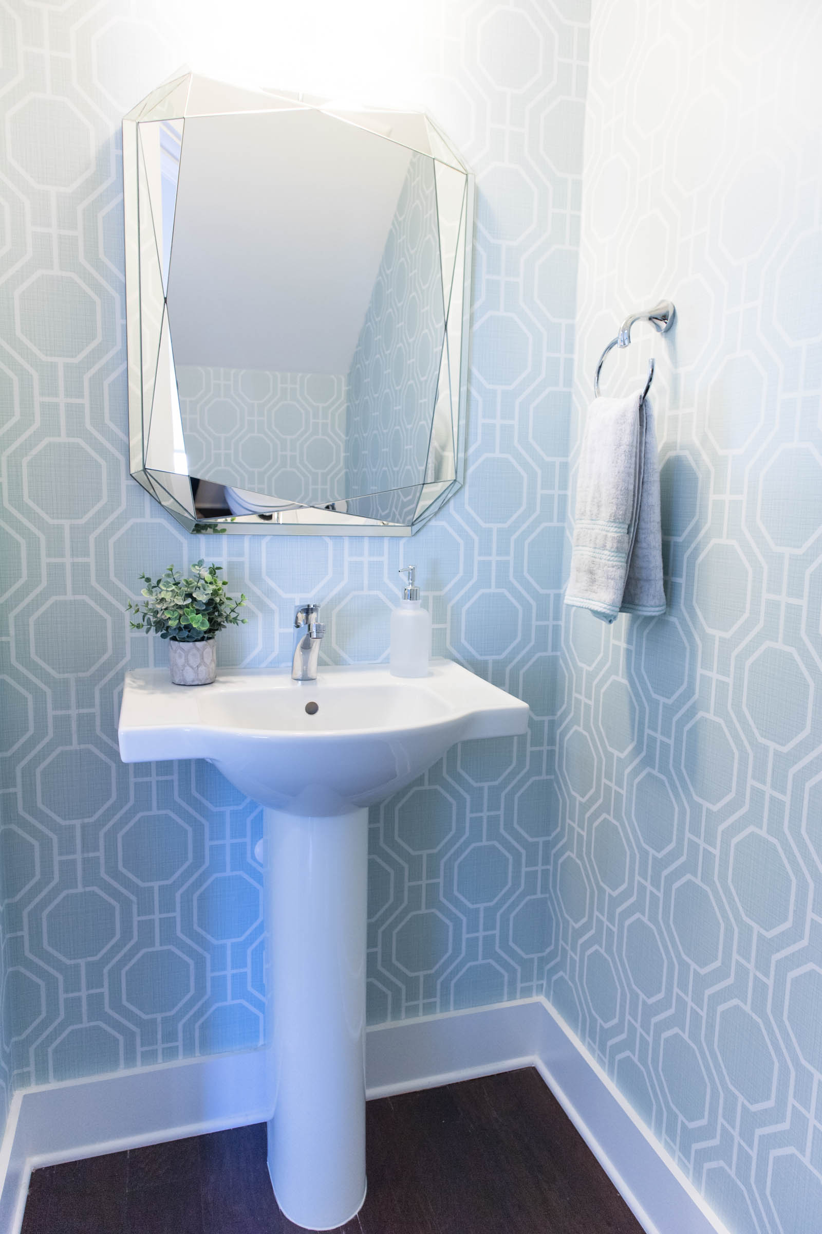 west elm faceted mirror, half bath
