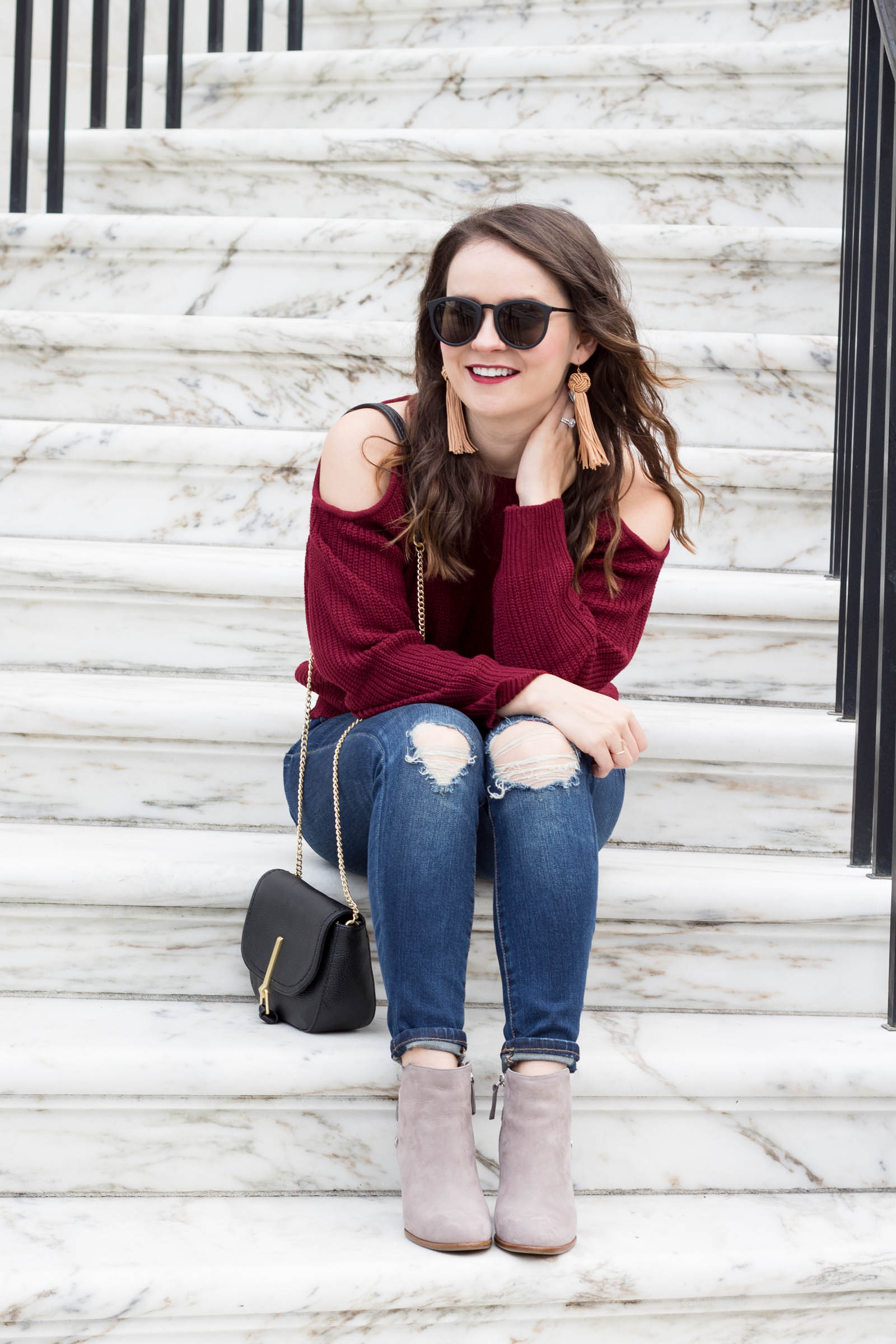 fall outfit, grey booties