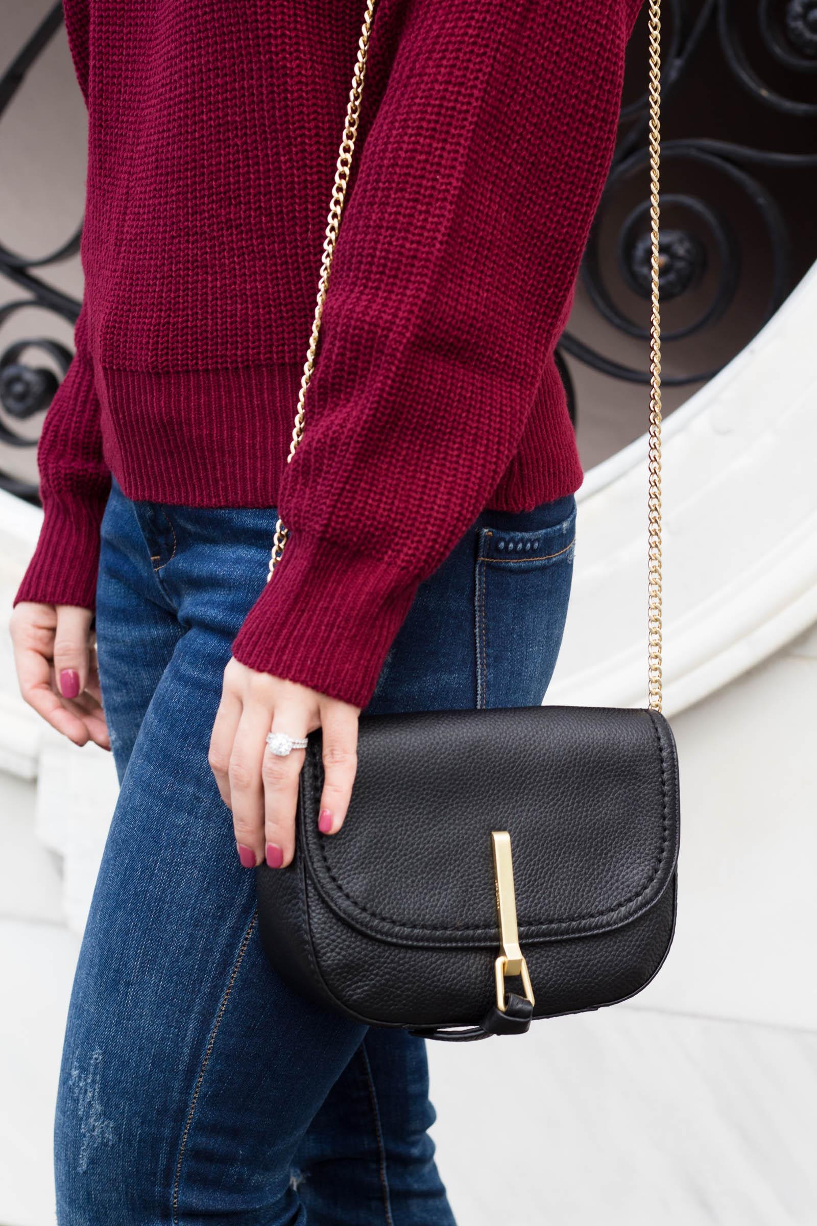 vera bradley carson mini saddle bag, black crossbody bag