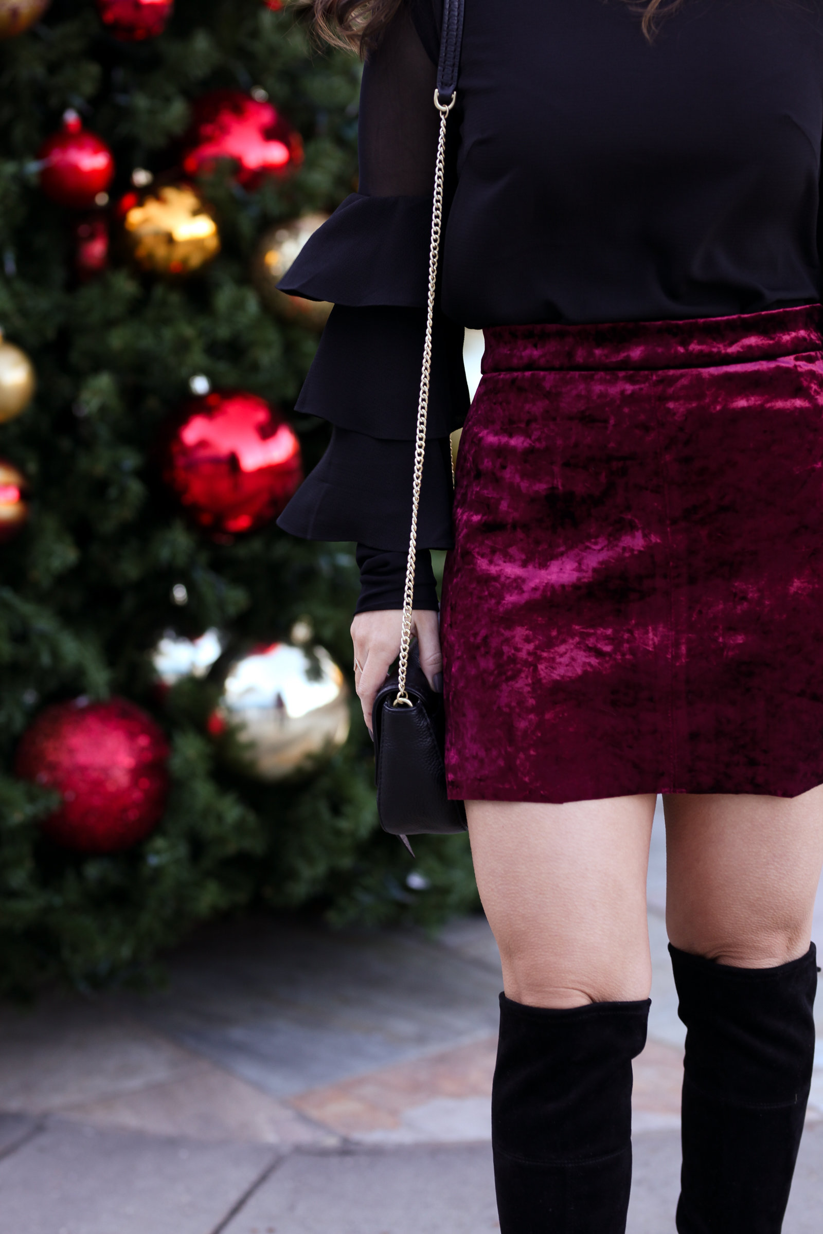 blanknyc red velvet skirt