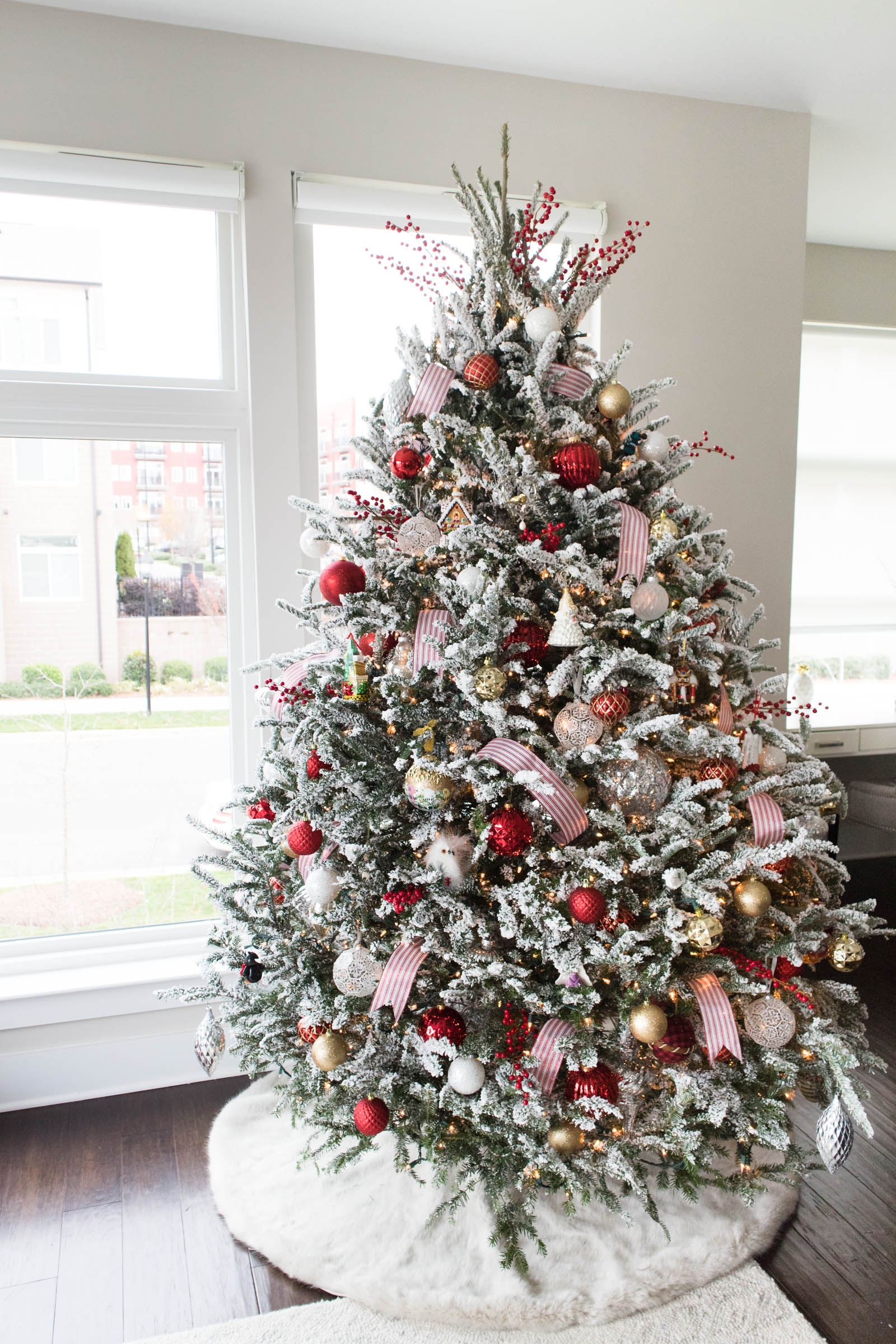 flocked christmas tree, holiday home decor