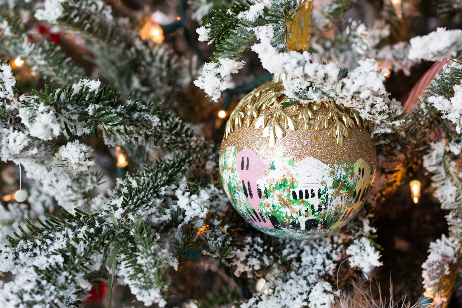 rainbow row ornament, flocked christmas tree