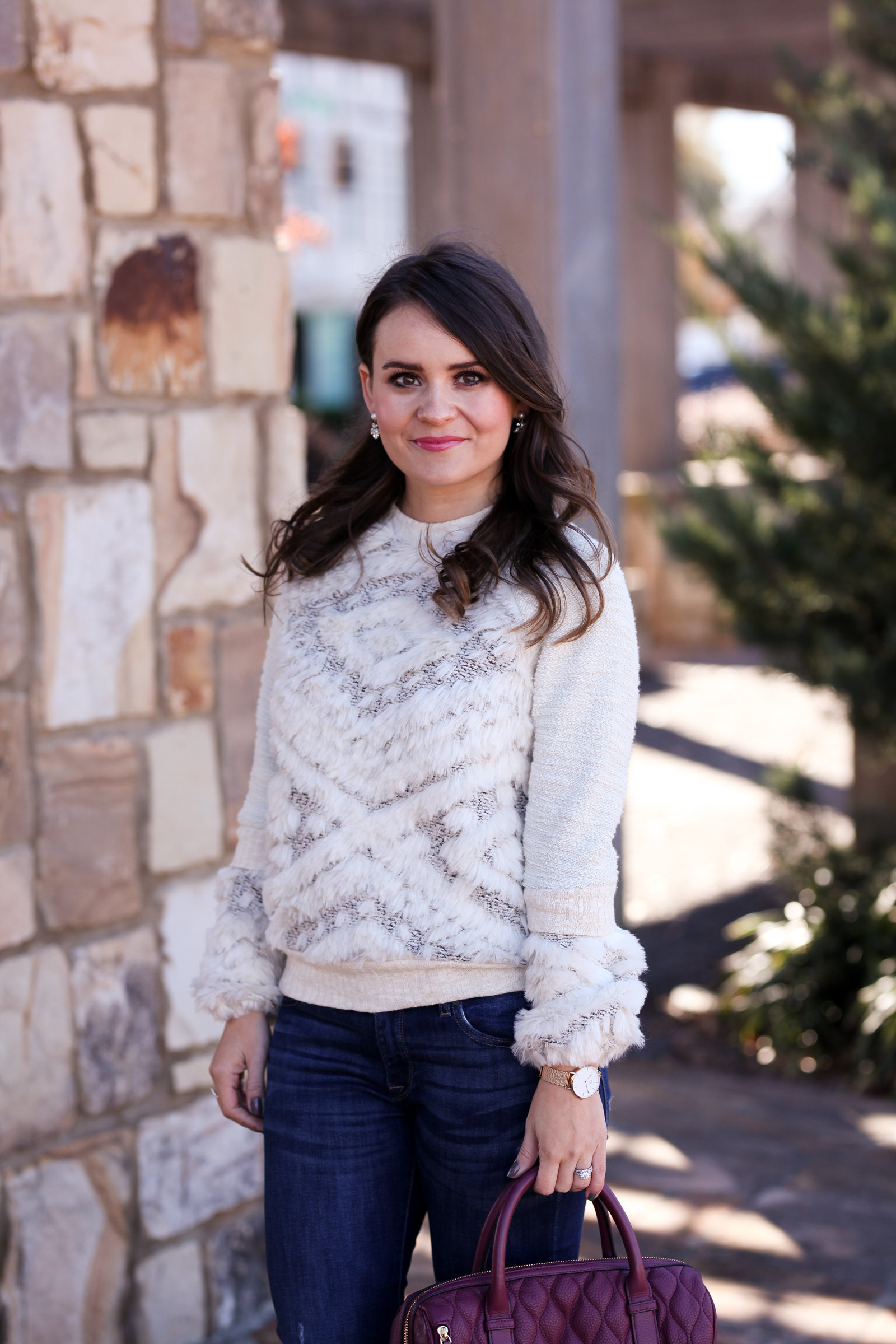 textured faux fur sweater