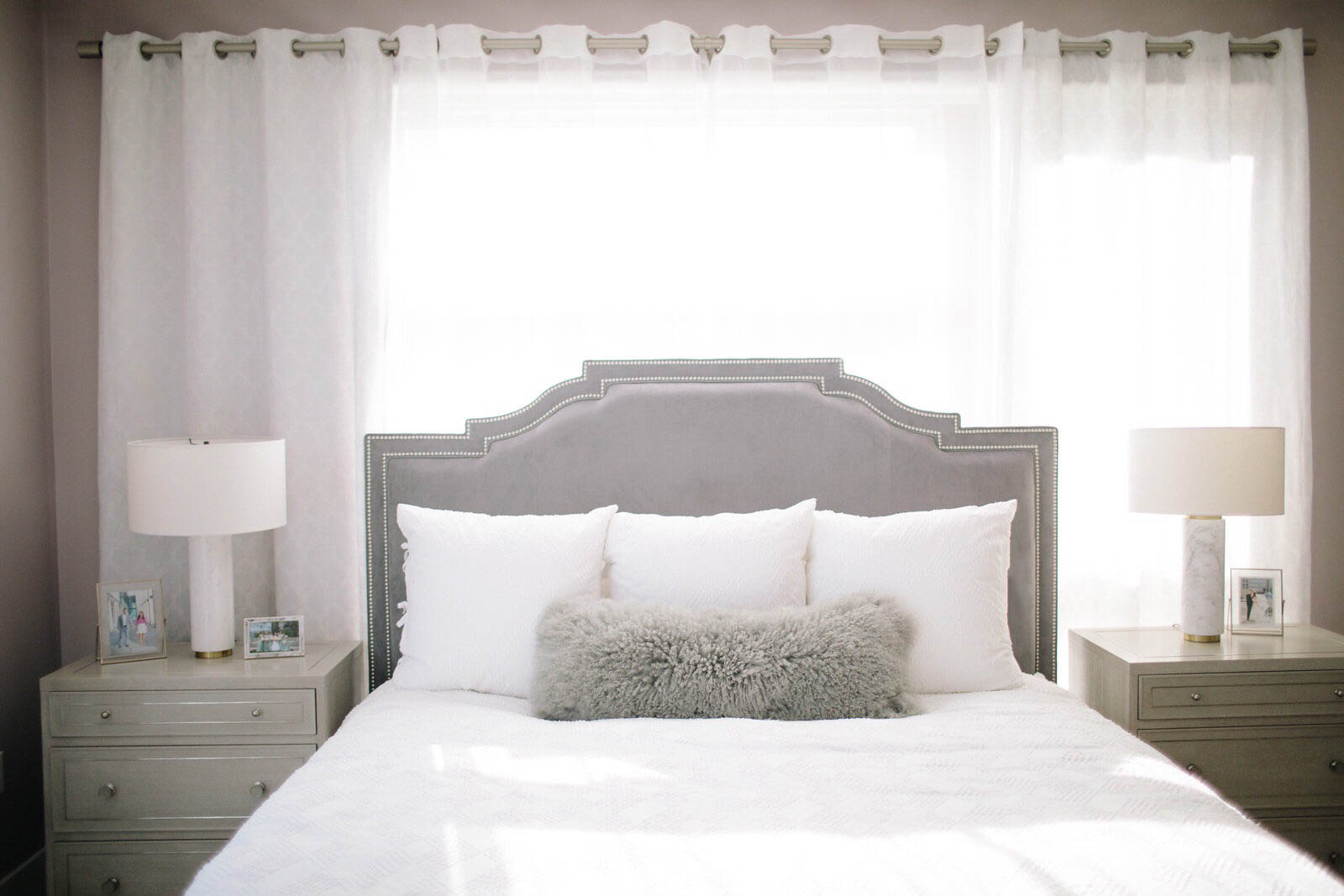 grey and white master bedroom decor, master bedroom home tour