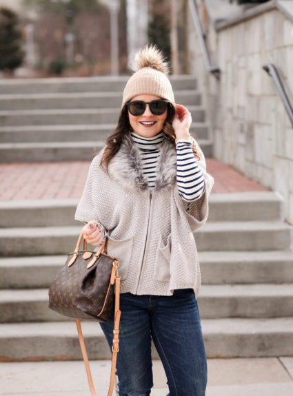 Striped Turtleneck + Faux Fur