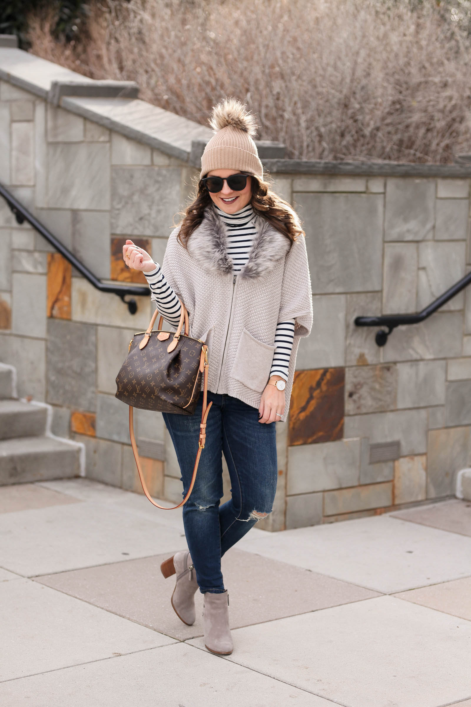 striped turtleneck and faux fur cardigan, louis vuitton turenne pm