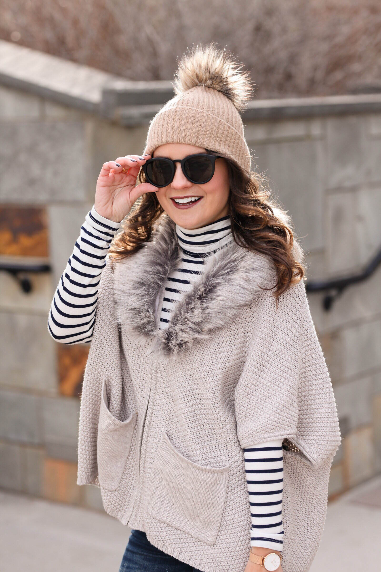 striped turtleneck and fur sweater, Carlie Caridigan with Faux Fur Collar