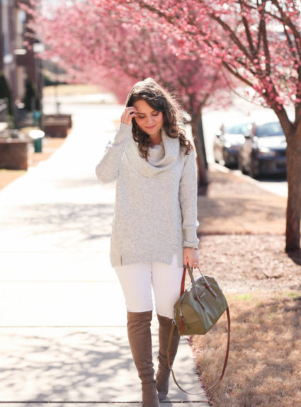 Grey Cowl Neck Sweater + Winter White Denim