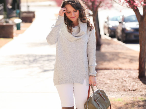 Grey Cowl Neck Sweater + Winter White Denim