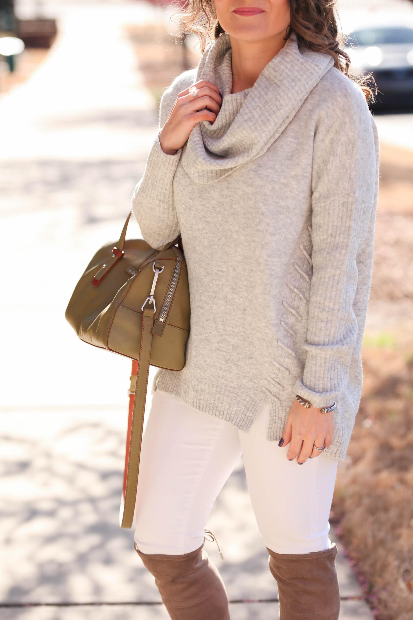 d0c03f2c081 Grey Cowl Neck Sweater + Winter White Denim - Medicine   Manicures