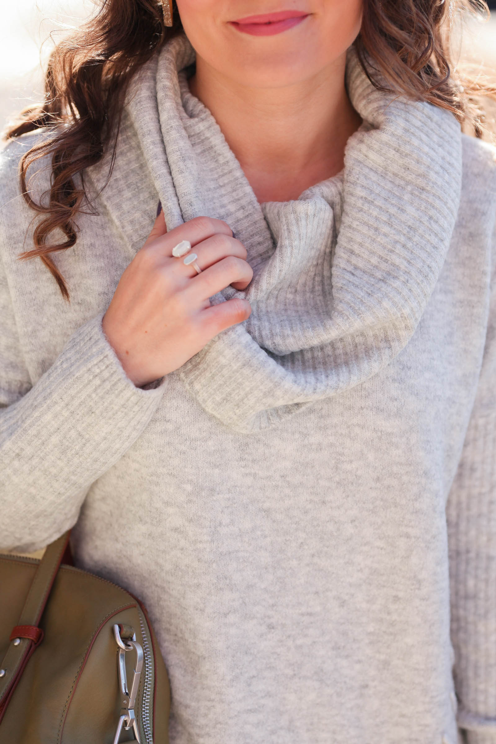 a484576fd05 Miss Selfridge cowl neck sweater    Articles of Society white jeans    Marc  Fisher OTK boots · Kendra Scott ring