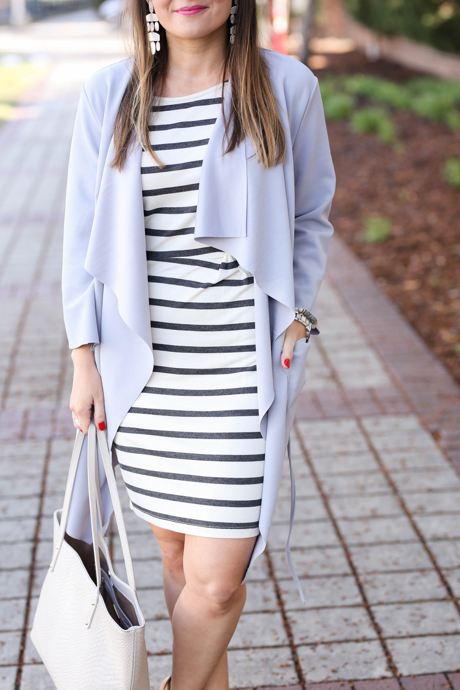 striped dress, spring wrap coat