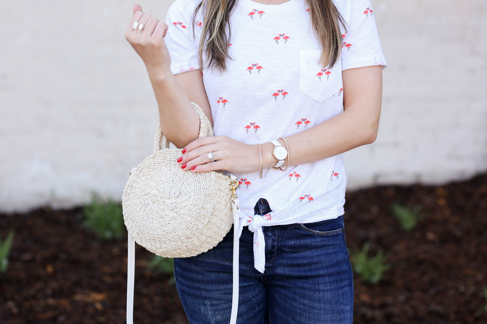 j.crew flamingo tee, clare v petite alice straw bag