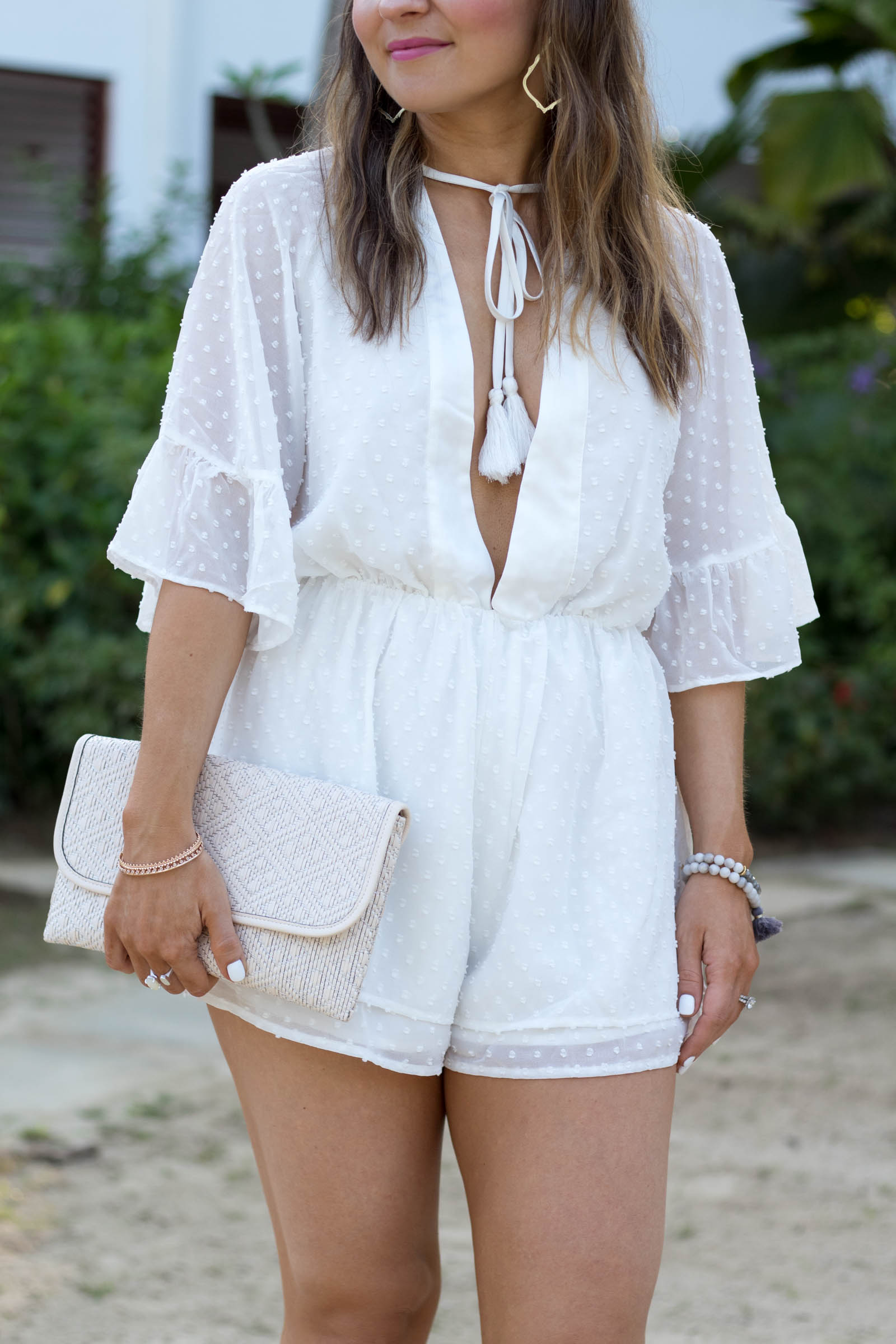 white romper, vacation outfit
