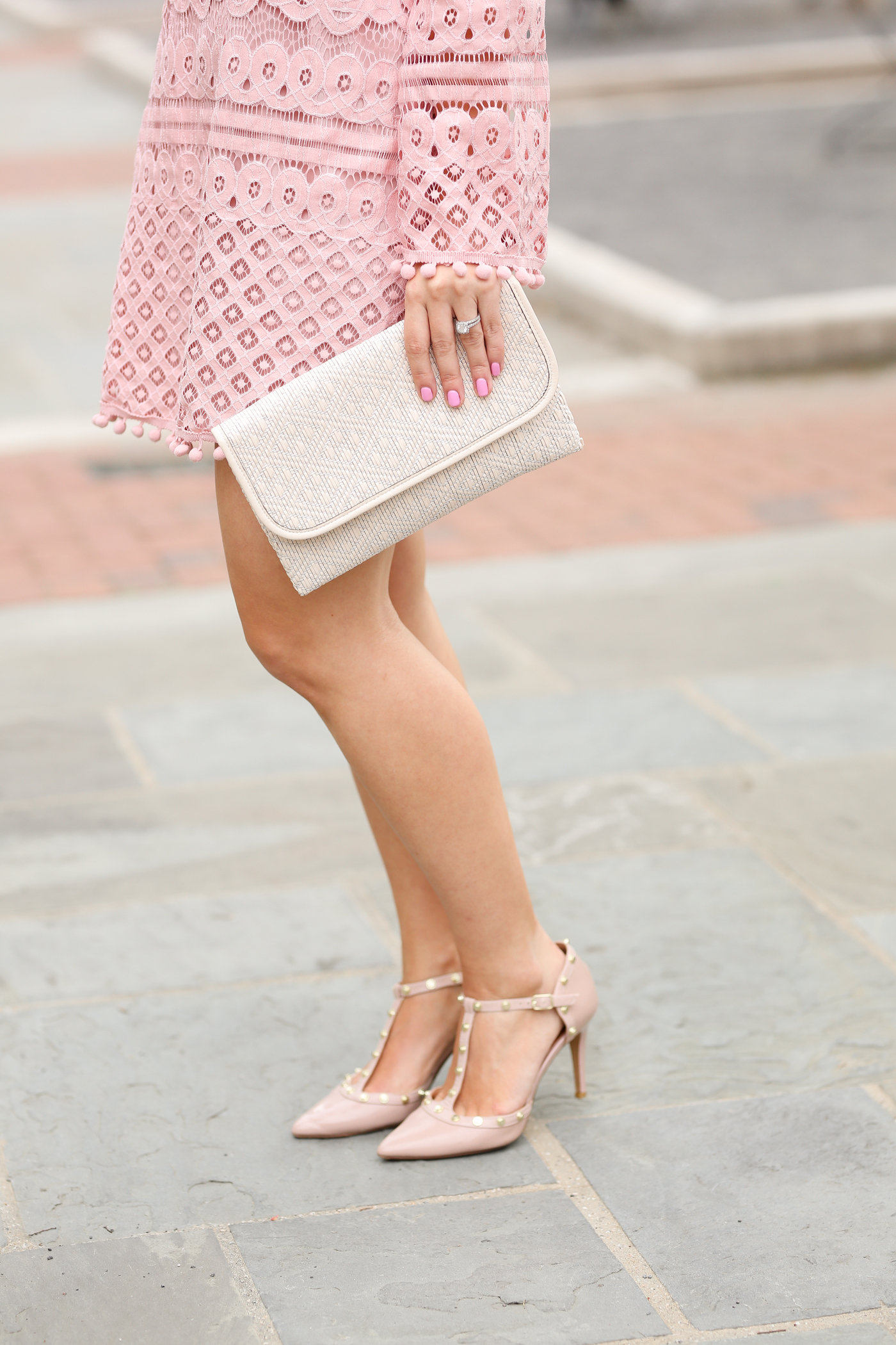 blush studded heels